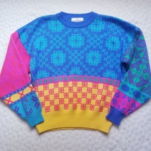Vintage 80s 90s Obermeyer sweater knit jumper loud